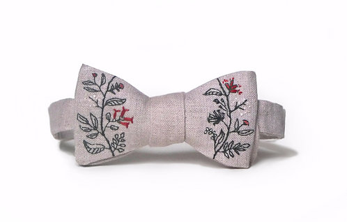 Embroidered 100% Linen || Mother Eden Bow Tie