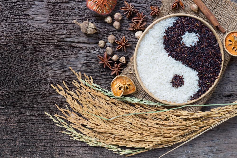 grains with yin yang symbol