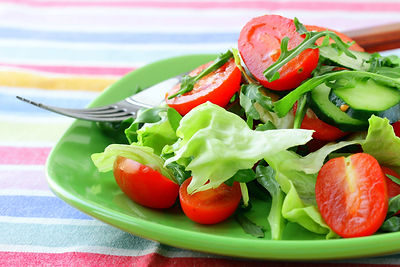 summer seasonal foods salad tomatoes cucumbers