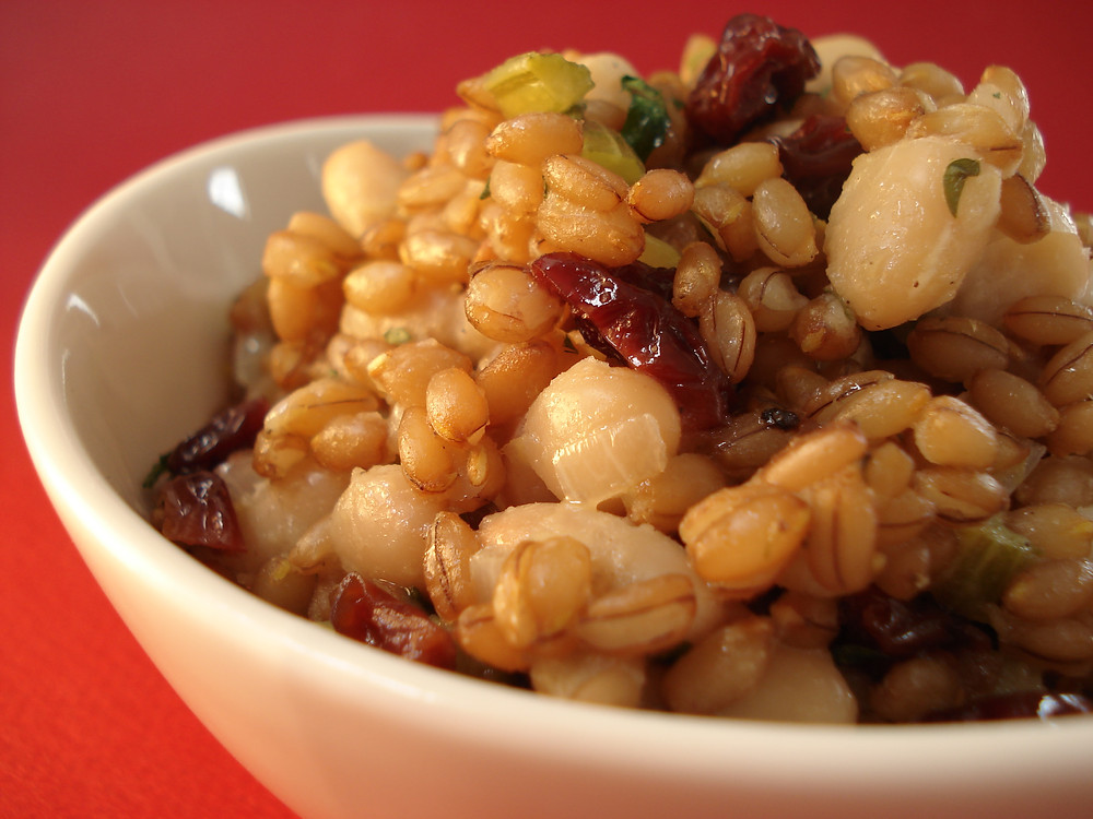 fall recipe rye berry bean salad