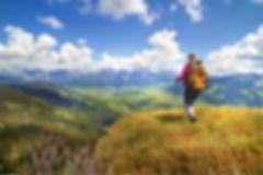 hiker fresh air mountain top