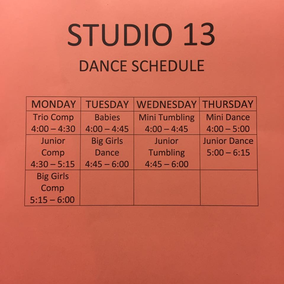 Studio 13 Dance Schedule, check them out on Facebook for more info!