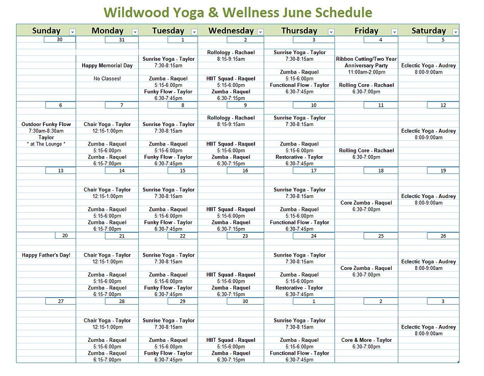 JUNE 2021 SCHEDULE 5-30-21 WILDWOOD YOGA
