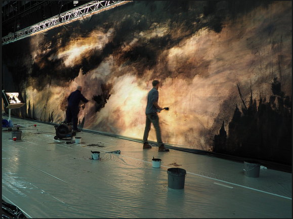 Assisting John Macfarlane on Act II & IIII backdrop