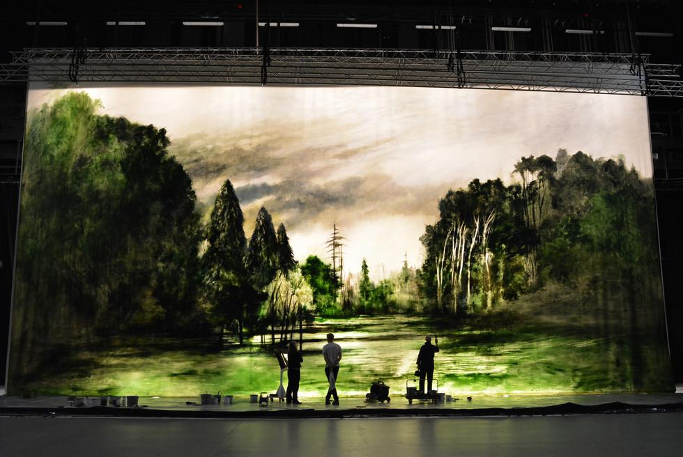 Scenic Art Assistant Head Rowan Plinston, myself and Designer John Macfarlane in front of Act I backdrop