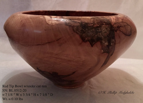 Red Tip Bowl with under cut rim