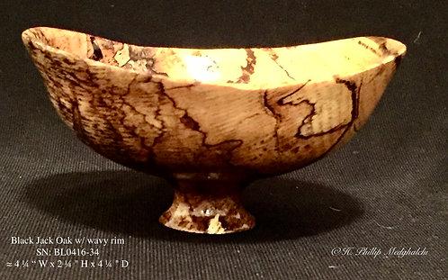 Black Jack oak bowl w/ wavy rim