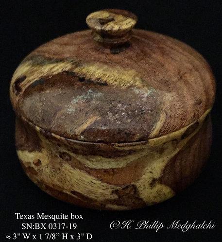 19 Mesquite lidded box w/finial