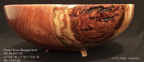 55- Mesquite bowl w/ legs & bark inclusion