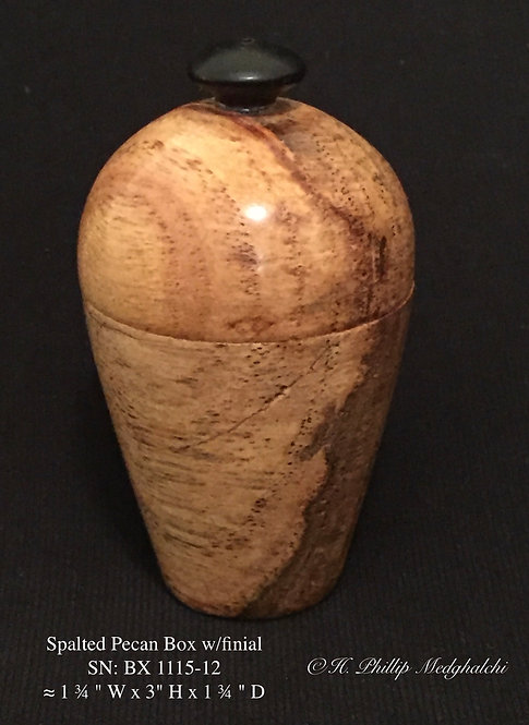 12- Pecan (spalted) Box with black finial