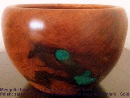 Turquoise inlaid Mesquite bowl