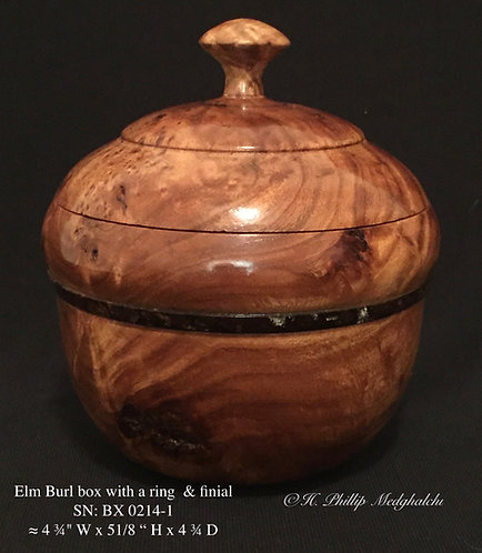 1- Elm Burl box with a ring  & finial