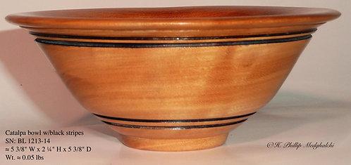 Catalpa bowl w/black stripes
