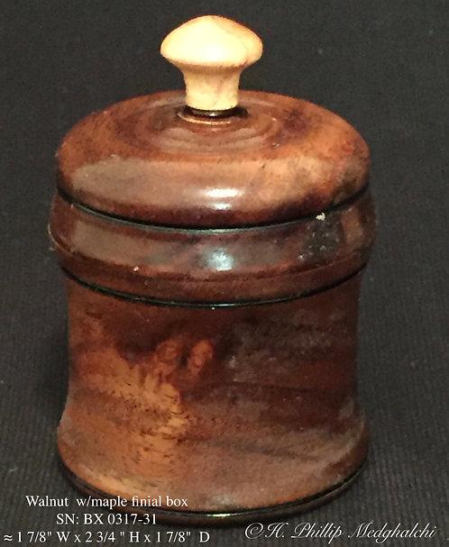 31- Claro Walnut with Maple finial box