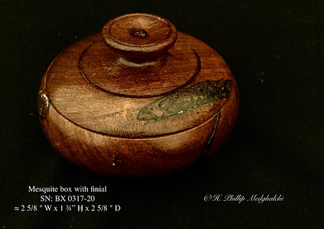 20 - Mesquite box w/ finial