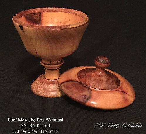 4- Elm/ Mesquite Box W/finial