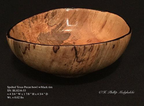 53- Texas Pecan Bowl( spalted) w/black rim
