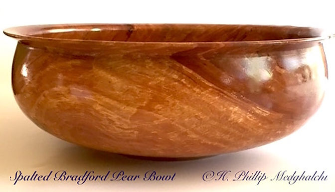 Spalted Bradford Pear wood bowl turned on lathe decorative bowl