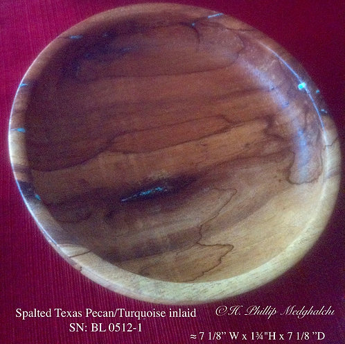 Spalted Texas Pecan bowl (with Turquoise inlay)