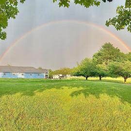 Rainbow over Blue Barn