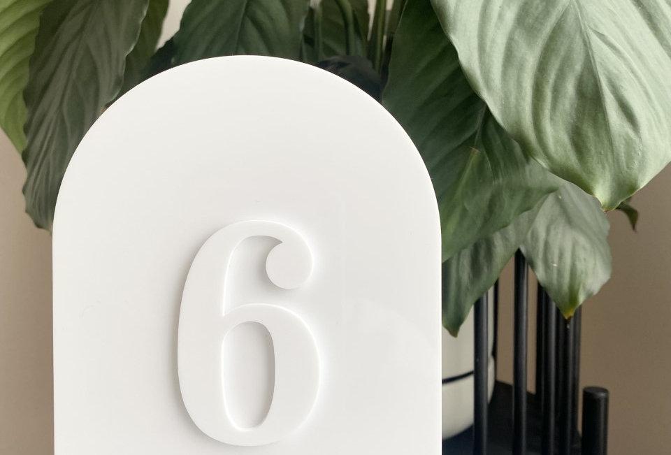 TABLE NUMBERS - ACRYLIC ON ACRYLIC
