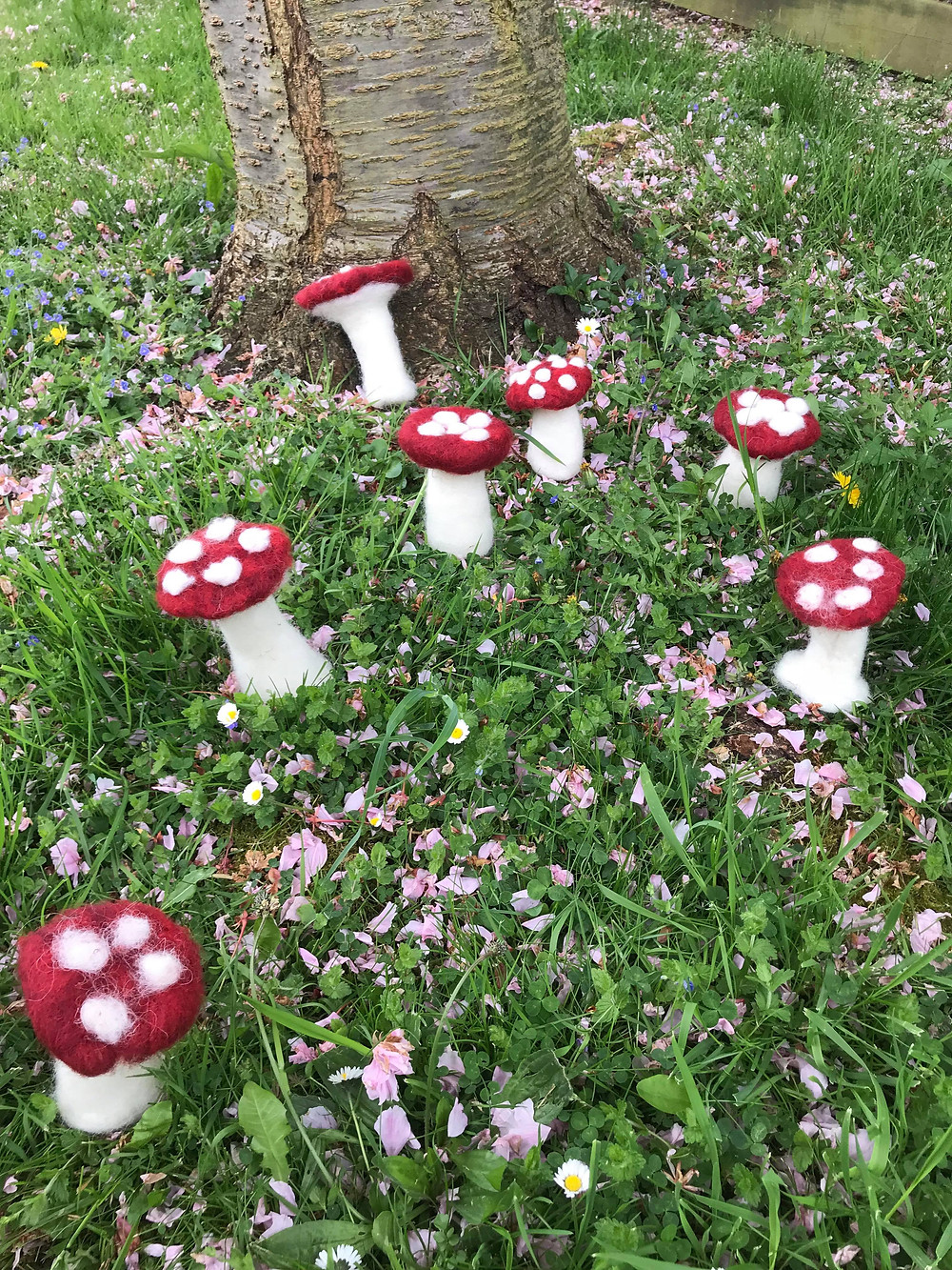 Fly agaric mushrooms made by people attending Ruschcliffe day centre