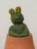 needle felted frog finger puppet