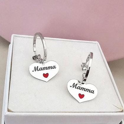Orecchini Heart Mom Silver