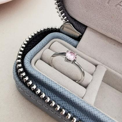 Anello Solitario con zircone rosa 5 mm