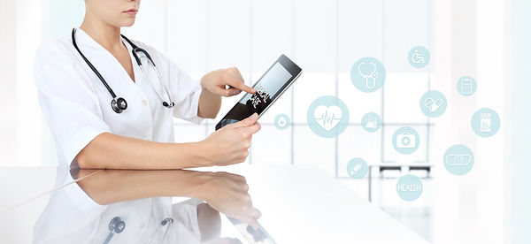 doctor using tablet in medical office an
