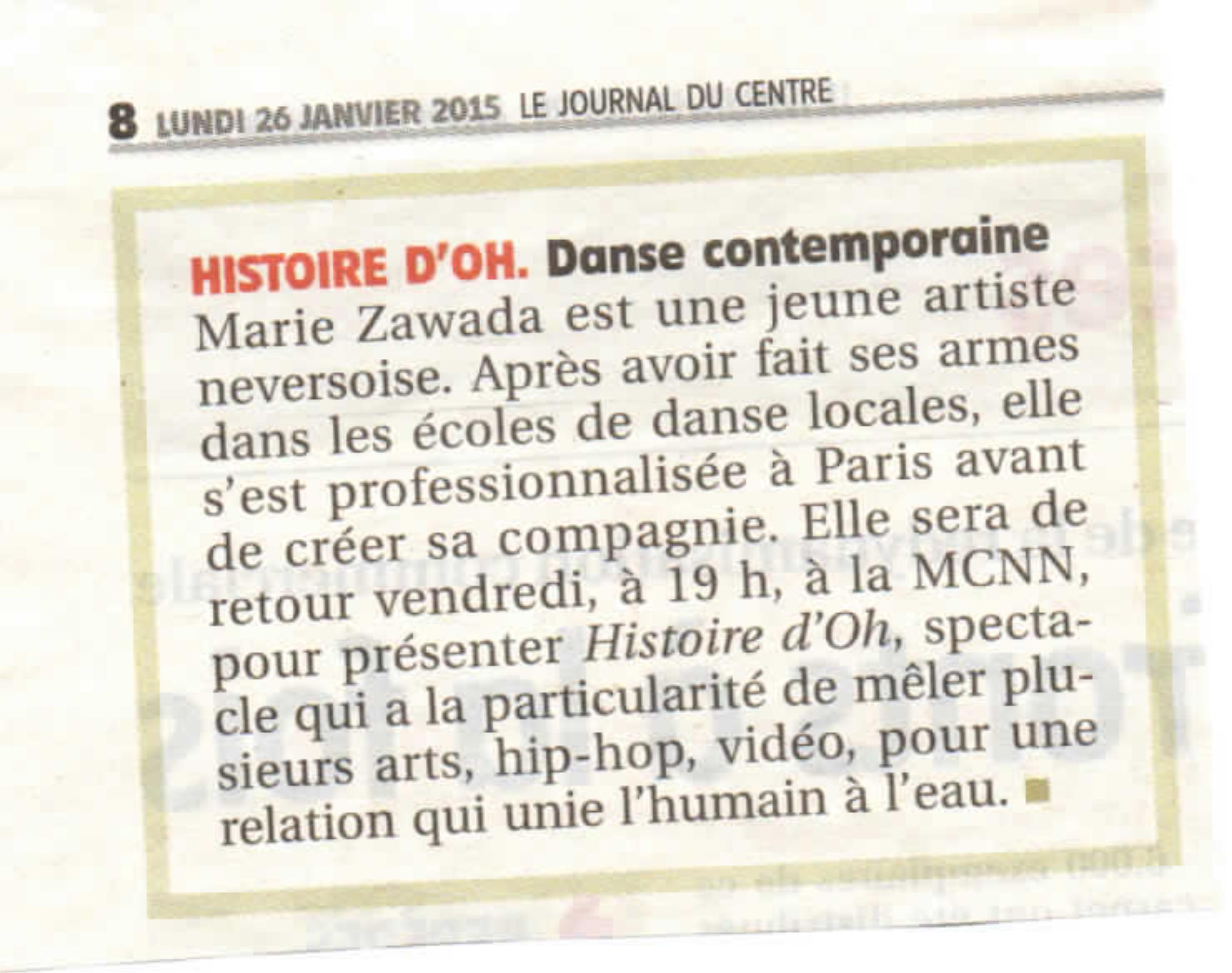 Journal du Centre Janvier 2015