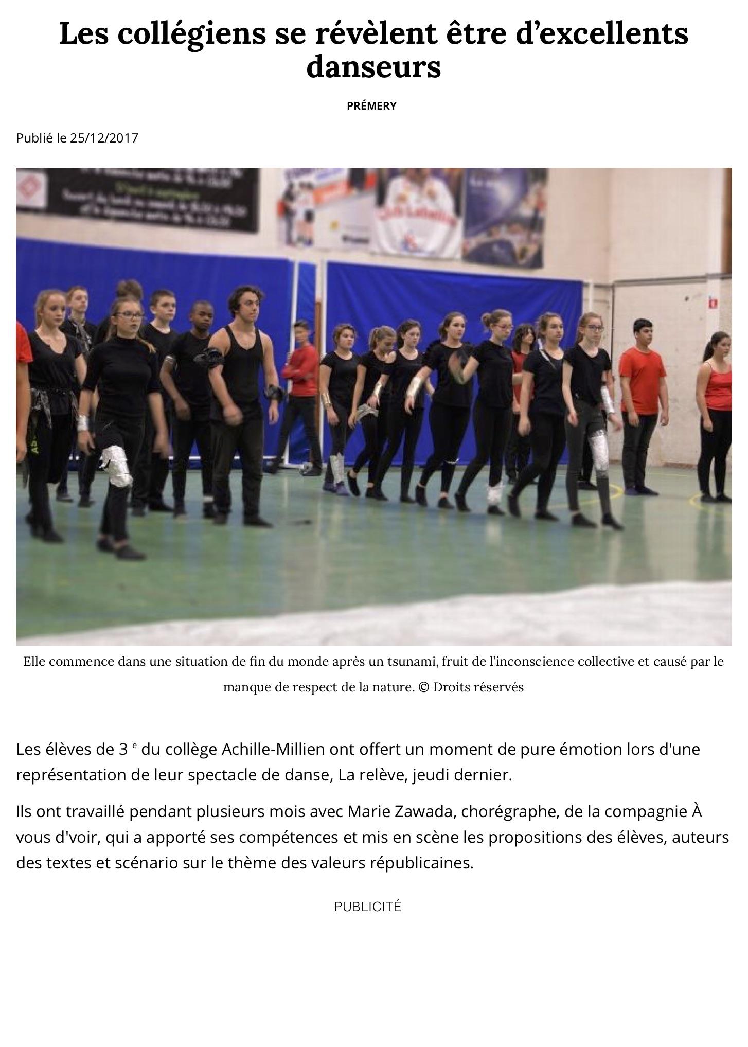 Les collégiens se révèlent être d'excellents danseurs - Prémery (58700) - Le Journal du Centre