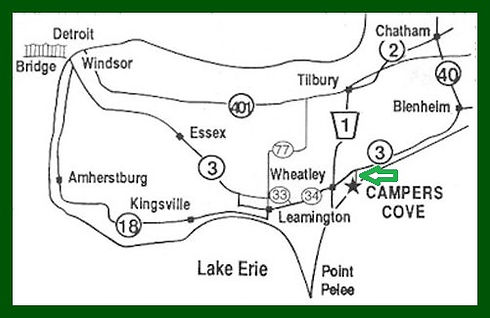 Map showing the location of Campers Cove, Wheatley Ontario