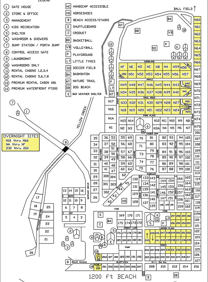 Park Map of sites at Campers Cove