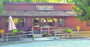 Campers Cove campground on the north shore of Lake Erie, southern Ontario with 1200 feet of sandy beach