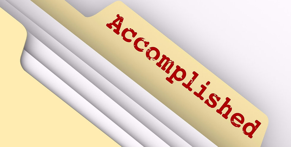 Accomplished word on file folder tab for jobs, tasks, projects or goals that are finished, achieved
