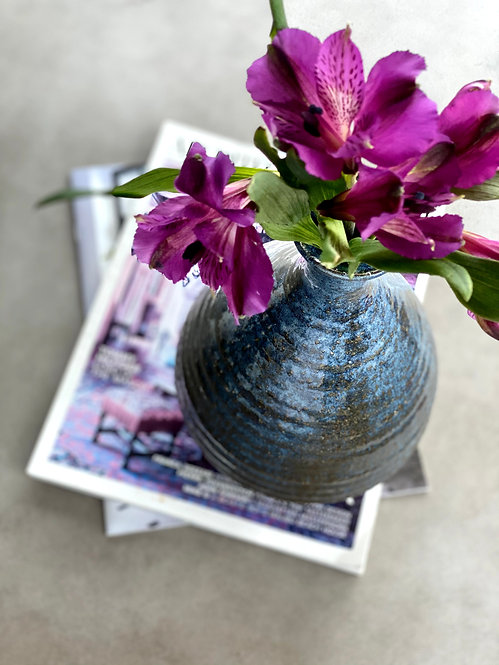 Blue Small Neck Rustic Vase