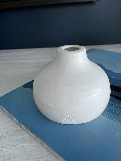 Small white belly vase