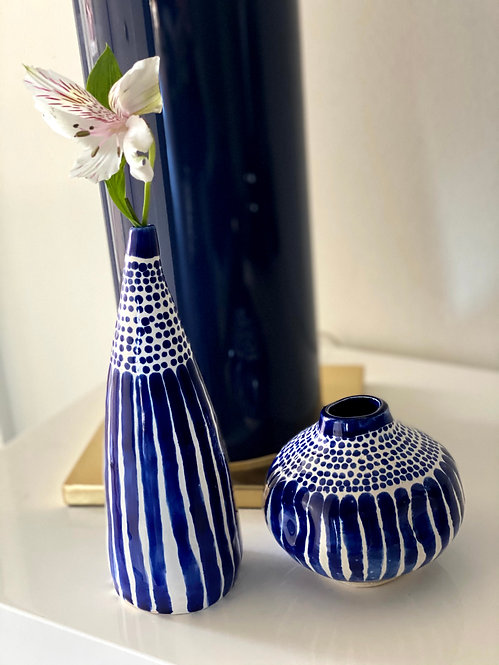 Cobalt Tall and Round Flower Vases Bundle