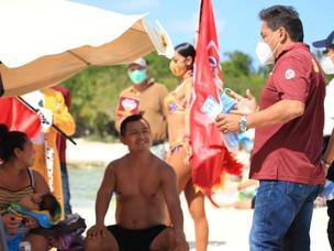 """Intensifican limpieza y protección sanitaria a turistas en playas """"Blue Flag"""" de Solidaridad"""