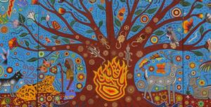 """""""Ta Kutsi Nakawe- Kiekari Muyu Kama"""" o """"La creación del Universo"""", realizado por Marianela Fuentes bajo el auspicio de Gustavo Cárdenas Moreno."""