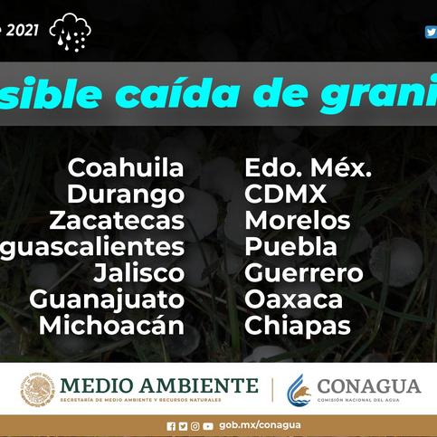 Lluvias muy fuertes, tormentas eléctricas y granizadas para Chiapas, Guanajuato, Guanajuato
