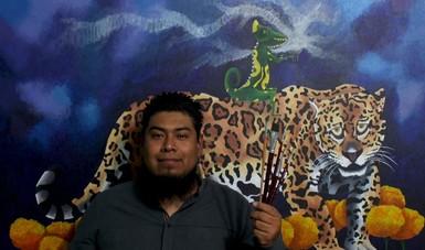 Pintor Aldo Jiménez muestra en sus cuadros la problemática de los animales en peligro de extinción