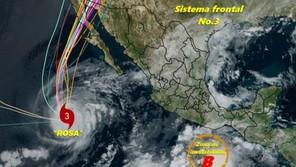 Depresión tropical Rosa toca tierra en Baja California