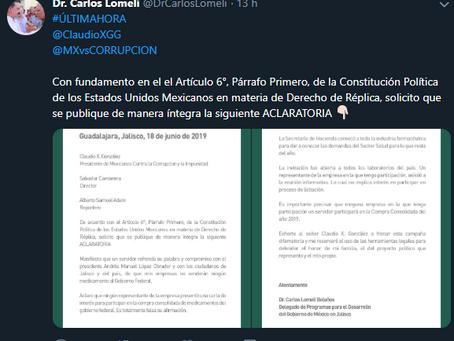 Carlos Lomelí revirá a MCCI, reitera no participación en licitación de medicamentos