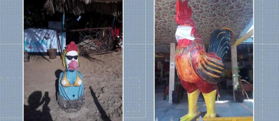 Esculturas ganham máscaras para conscientizar sobre coronavírus em Porto de Galinhas