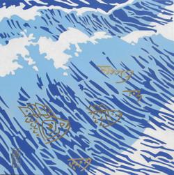 3- LA VAGUE -1m x1m acrylique et feuille d'or sur toile