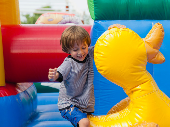 Boy in Bouncy Castle