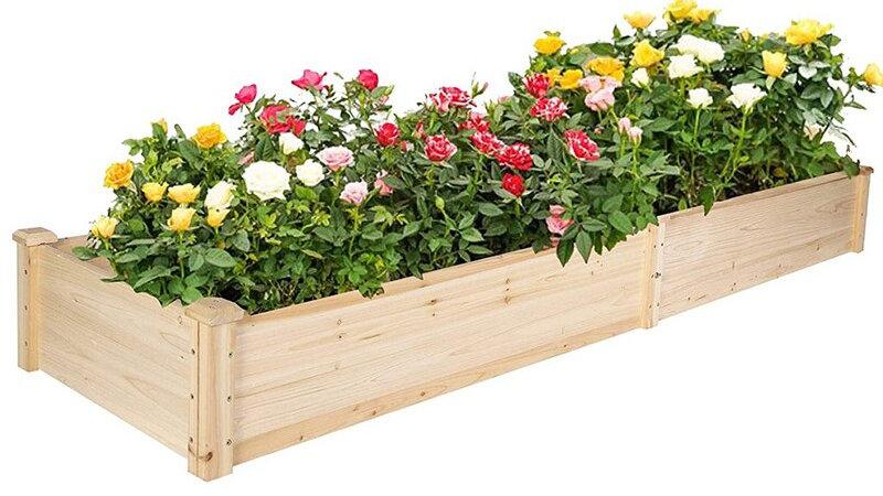 7.5 Feet Raised Garden Bed Wooden Planter Box