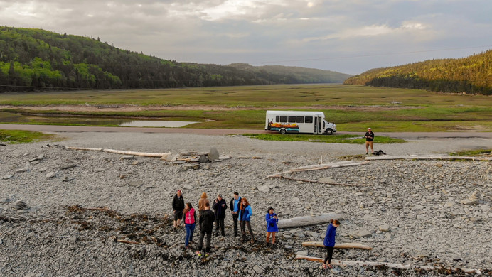 Cape Enrage Landscape with Group and Bus